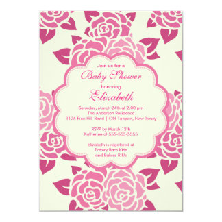 Pretty Pink Roses Spring Baby Shower Invitation