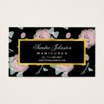 Pretty Pink Roses Watercolor Beauty Salon Business Card