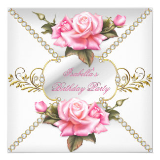 Pretty Pink Roses White Gold Birthday Party Card