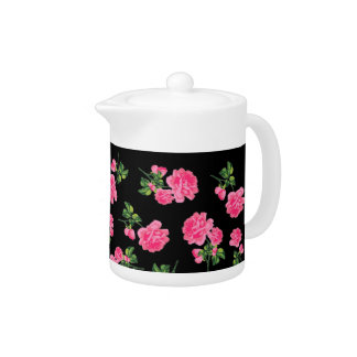 Pretty pink roses with black background teapot