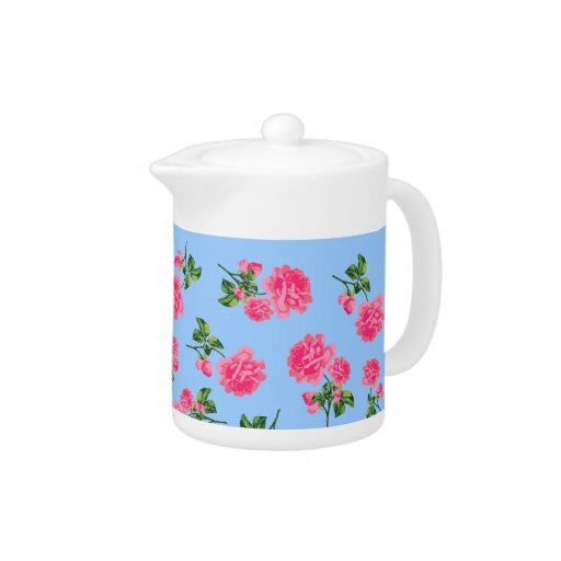 Pretty pink roses with blue background teapot