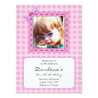 Pretty Pink Scrapbook Photo Birthday Party Card