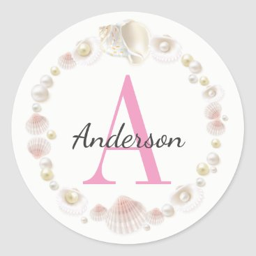 Beach Themed Pretty Pink Sea Shells Monogrammed & Personalized Classic Round Sticker