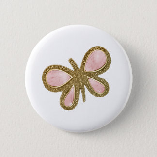 Pretty Pink Shiny Butterfly Button