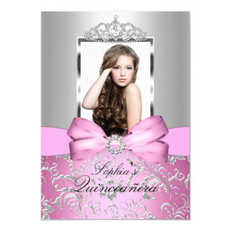 Pretty Pink Silver Bow & Tiara Quinceanera Card