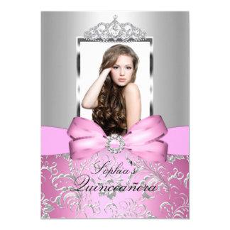 Pretty Pink Silver Bow & Tiara Quinceanera Card