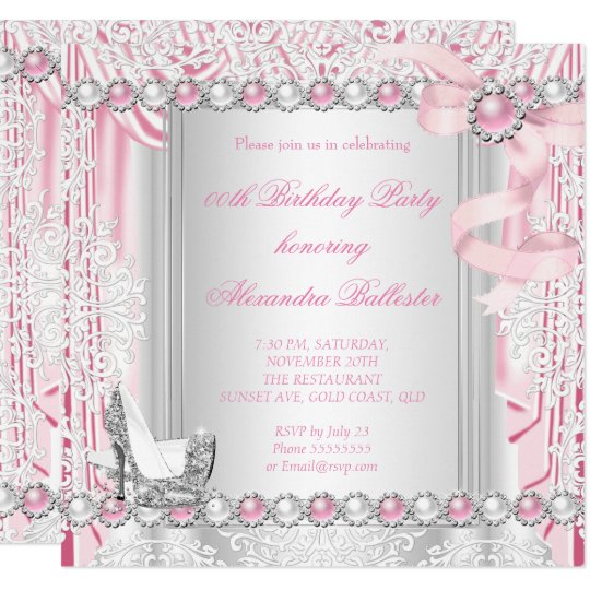 pretty pink silver high heels pearl bow birthday invitation zazzle com