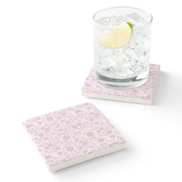 Beach Themed Pretty pink simple floral stone coaster