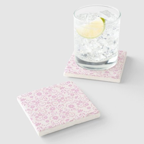 Pretty pink simple floral stone coaster