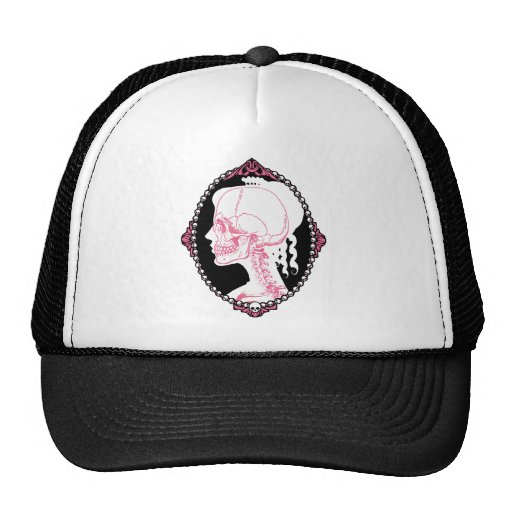 Pretty Pink Skull Cameo Trucker Hat