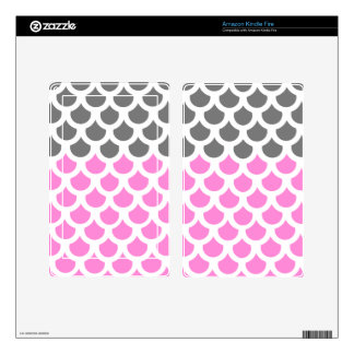 Pretty Pink/ Smoke Fish Scale 2 Decals For Kindle Fire