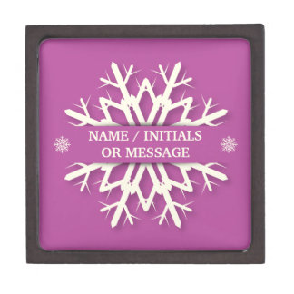 Pretty Pink Snowflake Giftbox with Name/Message Jewelry Box