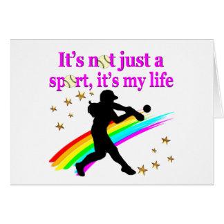 PRETTY PINK SOFTBALL IS MY LIFE DESIGN CARD