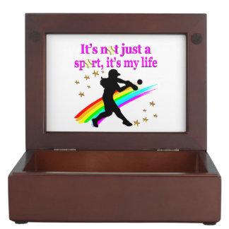 PRETTY PINK SOFTBALL IS MY LIFE DESIGN MEMORY BOX