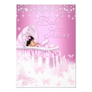 Pretty Pink Sparkle Butterfly Baby Shower Ethnic 5x7 Paper Invitation Card