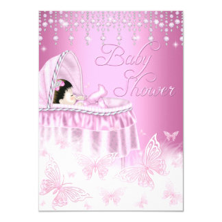 Pretty Pink Sparkle Butterfly Baby Shower Invite