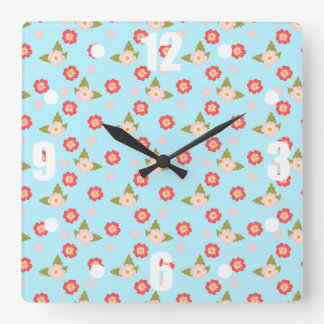 Pretty Pink Spring Flowers Floral Pattern on Blue Square Wallclock