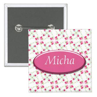 Pretty Pink Spring Vine Flowers Monogram 2 Inch Square Button
