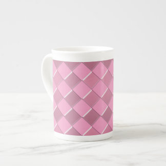 Pretty pink squares pattern tea cup
