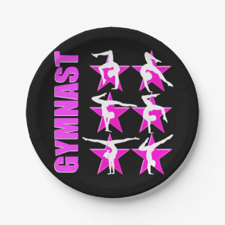 PRETTY PINK STAR GYMNAST PAPER PLATE