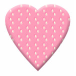 Pretty Pink Strawberry Heart on White. Acrylic Cut Out