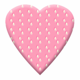 Pretty Pink Strawberry Heart on White. Cut Out