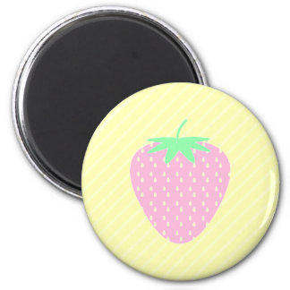 Pretty Pink Strawberry on Yellow Stripes. 2 Inch Round Magnet