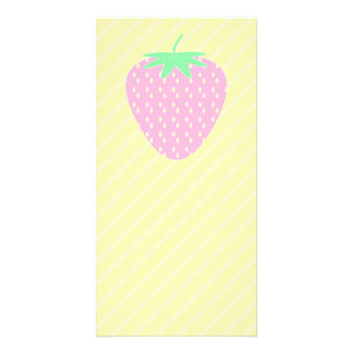 Pretty Pink Strawberry on Yellow Stripes. Card