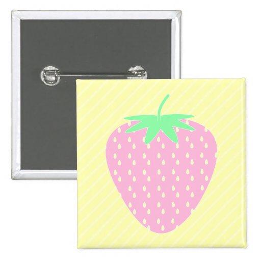 Pretty Pink Strawberry on Yellow Stripes. Pin