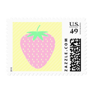 Pretty Pink Strawberry on Yellow Stripes. Stamps