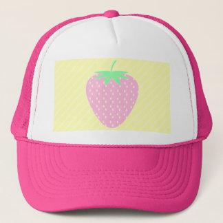 Pretty Pink Strawberry on Yellow Stripes. Trucker Hat