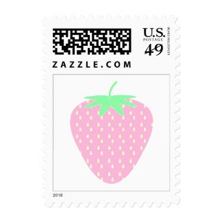 Pretty Pink Strawberry. Postage Stamps