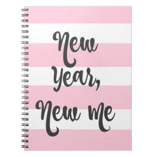 Pretty Pink Stripe Journal New Year New Me