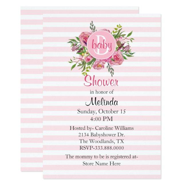 Pretty Pink Striped Baby Shower Invitation