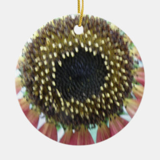Pretty Pink Sunflower Custom Birthday Double-Sided Ceramic Round Christmas Ornament