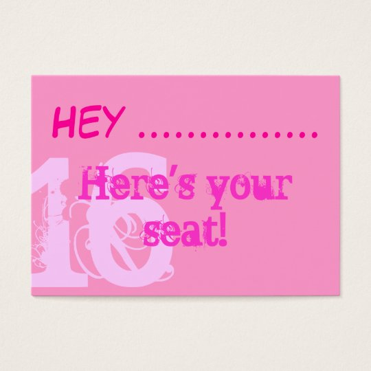 Pretty Pink Sweet 16 party placecards Business Card