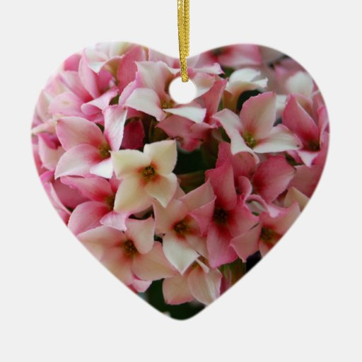 Pretty Pink Sweet Flowers Double-Sided Heart Ceramic Christmas Ornament