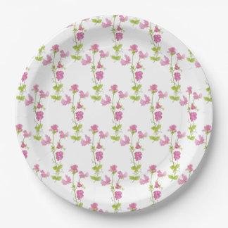 Pretty Pink Sweet Pea Flower Art Paper Plate