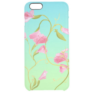 Pretty Pink Sweet Pea Flowers Watercolor Clear iPhone 6 Plus Case