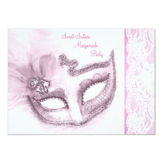 Pretty Pink Sweet Sixteen Masquerade Party Card