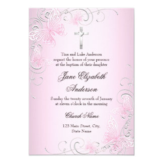Pretty Pink Swirl Butterfly & Cross Baptism Invite