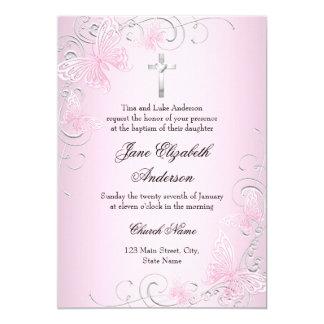 Pretty Pink Swirl Butterfly & Cross Baptism Invite