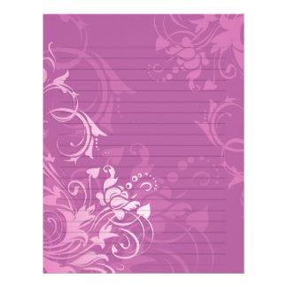 pretty pink swirl floral design lined paper letterhead