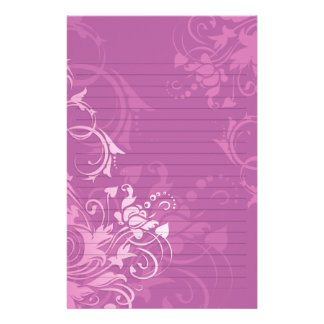 pretty pink swirl floral design lined paper personalized stationery