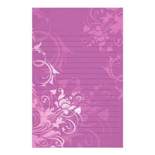 pretty pink swirl floral design lined paper stationery   Zazzle