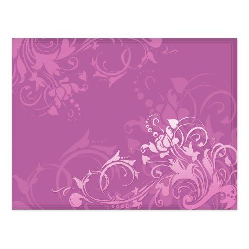 pretty pink swirl floral design postcard