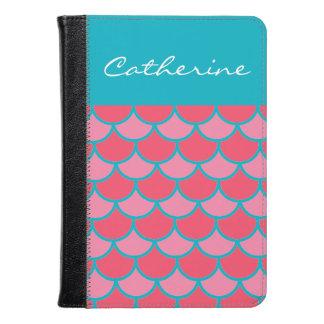 Pretty Pink Teal Scallop Chevron Pattern Custom Kindle Case