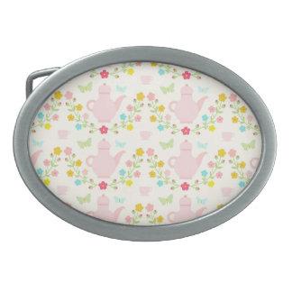 Pretty pink teapots belt buckle