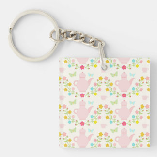 Pretty pink teapots Single-Sided square acrylic keychain