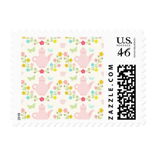 Pretty pink teapots stamp